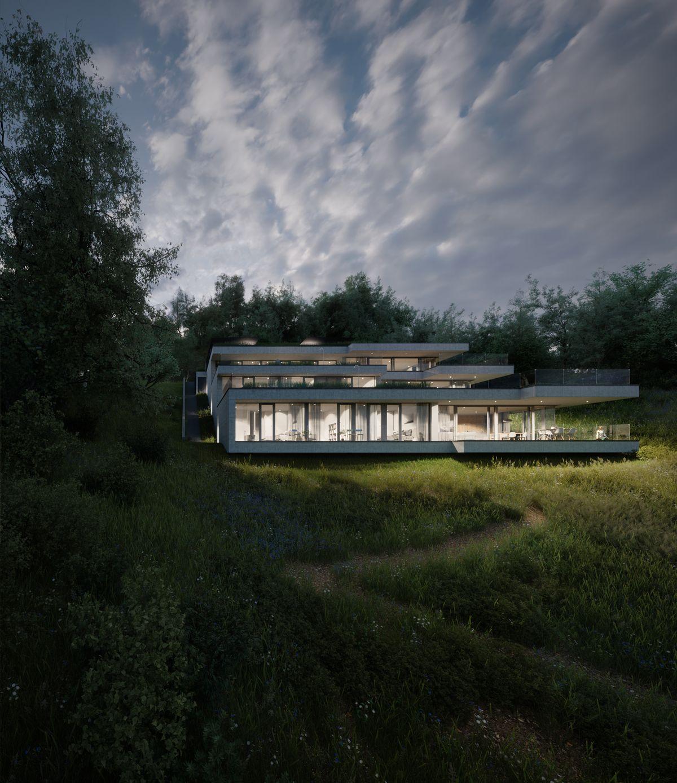 offene raumgestaltung der terrassenhäuser